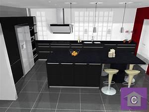 Plan De Cuisine 3d : cuisine noire avec ilot cuisine en image ~ Nature-et-papiers.com Idées de Décoration