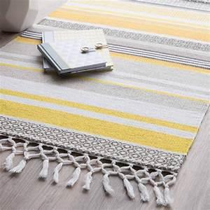 Tapis Jaune Maison Du Monde : tapis ray en coton jaune gris 60 x 100 cm porto maisons ~ Zukunftsfamilie.com Idées de Décoration