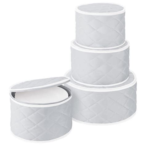 Grey Quilted China Storage Cases   The Container Store