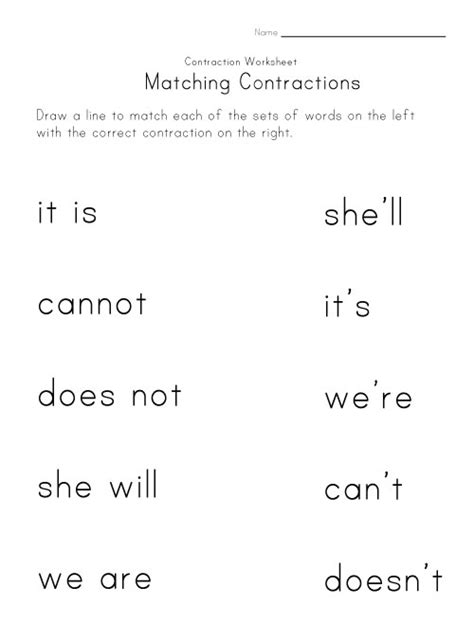 6 Best Images Of Free Printable Contraction Worksheets  Free Printable Contraction Worksheets