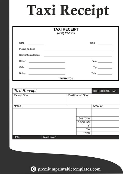 taxi receipt templates receipt template business plan