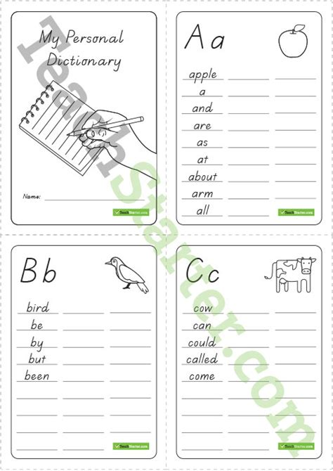 printable personal dictionary bw version  letters