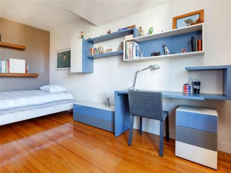 amenagement chambre 2 enfants du bleu pour un bureau composite modulable maisonapart