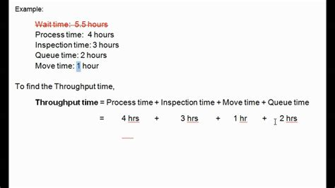 throughput time manufacturing cycle efficiency