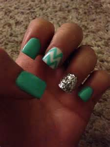 Teal and White Chevron Nails