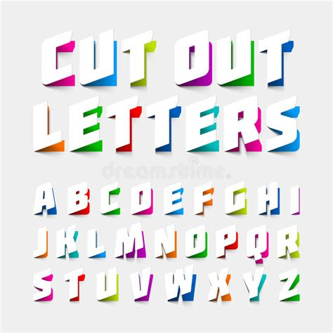 cut out letters alphabet letters cut out from paper stock vector image 13224