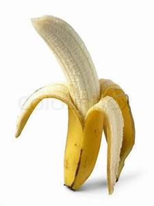 Half banana in peel on white background | Stock Photo ...