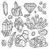 Crystals Drawn Minerals Gem Drawing Vector Hand Drawings Mineral Diamond Hipster Crystal Background Illustration Shiny Getdrawings Gems Effect Coloring Reference sketch template