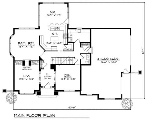 Traditional Style House Plan  3 Beds 250 Baths 2717 Sq