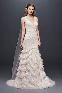 beaded lace wedding dress with plunging neckline style With plunging neckline wedding dress