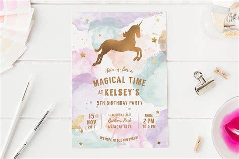 unicorn birthday party invite invitation templates