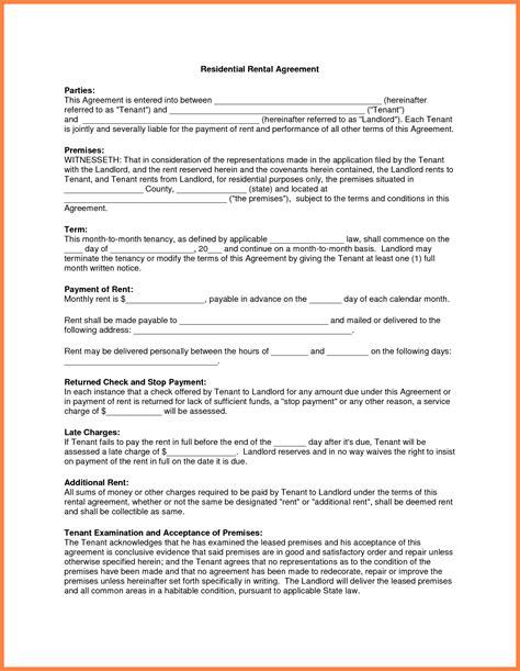 apartment rental agreement marital settlements