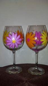 Painted wine glasses on Pinterest