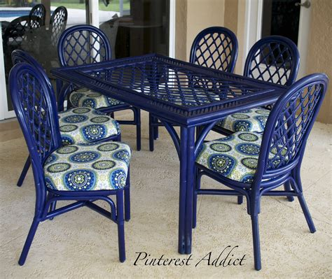 blue outdoor table and chairs patio furniture re do pinterest addict