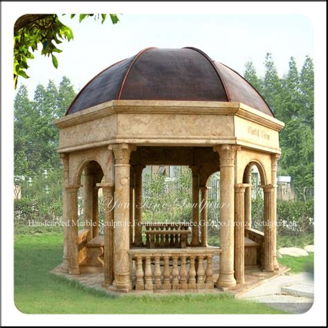 outdoor marble garden gazebo with metal roof view
