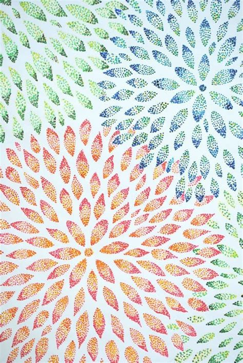 flower abstract pointillism create drawing painting art cut