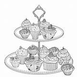 British Cake Coloriage Coloring Pages Cupcake Adult Harriet Popham Cooking Printable Craft Books sketch template