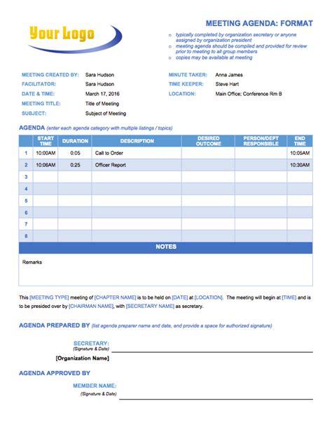 Agenda Template Free Meeting Agenda Templates Smartsheet