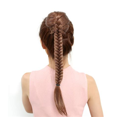 Drawstring Fishtail Plaited Ponytail Long Straight Braids