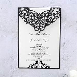 slinky ebony laser cut frame giant modern sophistication With laser cut wedding invitations in dallas