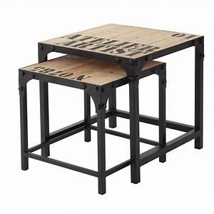 Table Gigogne Maison Du Monde : 2 metal and wood industrial coffee tables w 45cm docks maisons du monde ~ Teatrodelosmanantiales.com Idées de Décoration