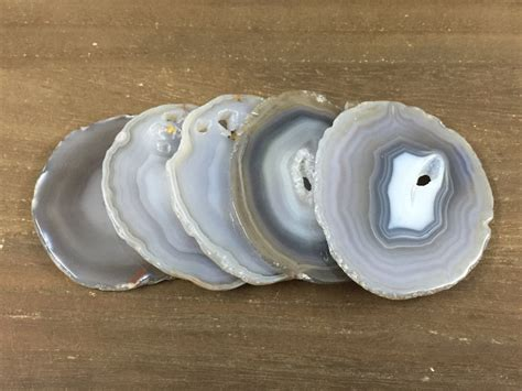 Large Agate Slices Gray Agate Coaster Large Agate Druzy Slice