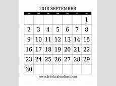 September 2018 Calendar With Week Template Printable