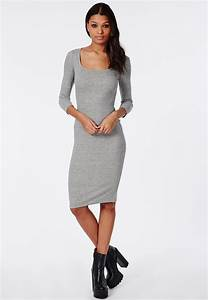 missguided ribbed bodycon midi dress grey in gray lyst With robe grise moulante