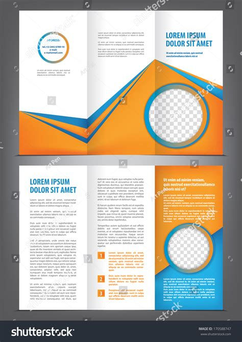 trifold design template empty vector empty trifold brochure template design 170588747