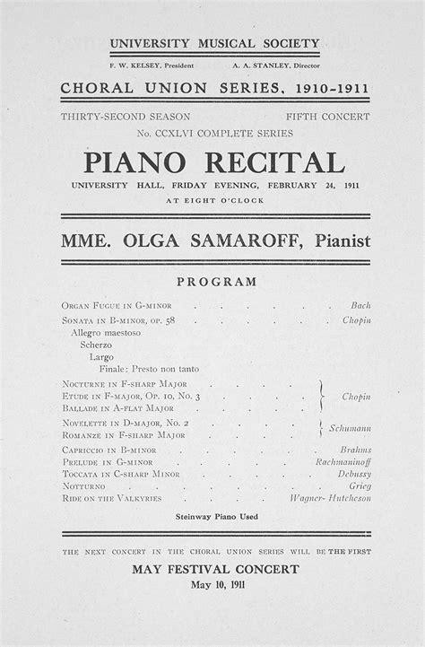 piano recital program piano concert program exles padinterow