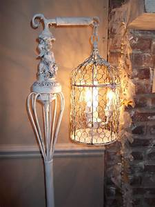 bird cage chandelier floor lamp vintage by oceanbluecreations With caged chandelier floor lamp
