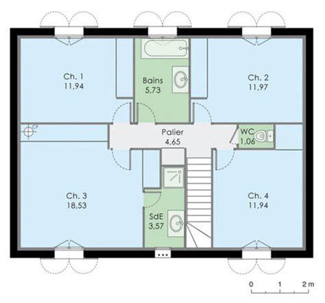 plan maison etage 4 chambres 1 bureau maison familale dé du plan de maison familale