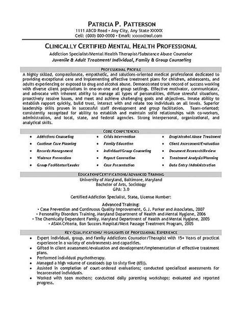 Career Development Counselor Resume therapist counselor resume exle target personal development and search