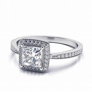 Platinum Diamond Princess Cut Engagement Ring - Engagement ...