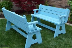 Convertible Bench Picnic Table Plan Image Mag Basement Design Ideas For Family Room