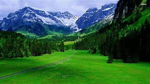 Greenery, Swiss, Alps, Mountain, With, Fog, Hd, Nature, Wallpapers