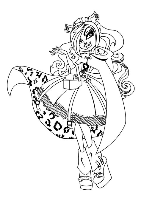 Clawdeen Wolf Monster High Coloring Pages For Kids