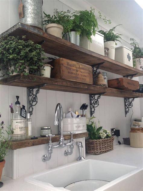 rustic wooden kitchen shelves  potted ferns vintage