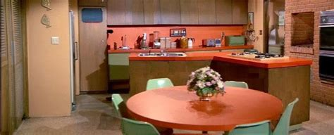 brady bunch kitchen  orange formica counters