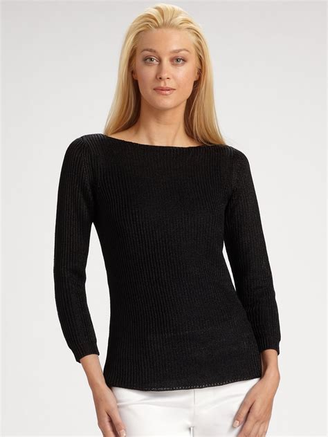 Ladies Black Boat Neck Sweater lyst ralph lauren black label metallic boatneck sweater