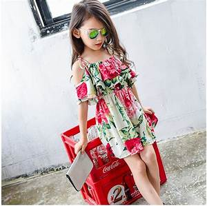 2018 Wholesale Kids Clothing Summer Hot Sale Fashion Printed Braces Off Shoulder Dress For Girls ...