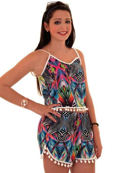 womens bobble pom pom trim aztec zebra co ord cami crop