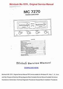 Mcintosh Mc 7270 Original Service Manual By Armandoyoung