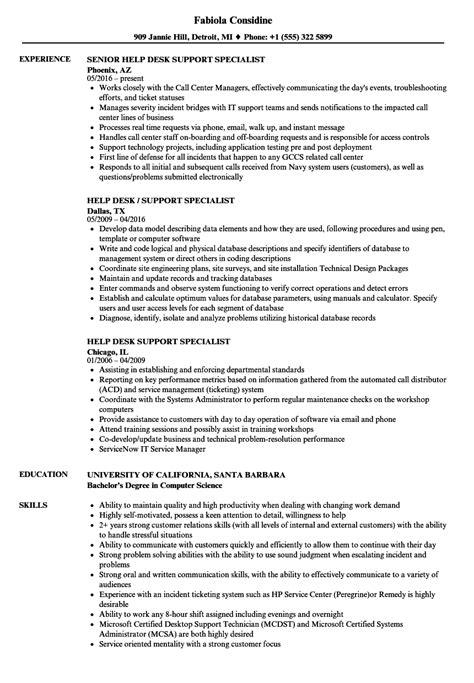 duties of help desk support help desk support specialist resume sles velvet