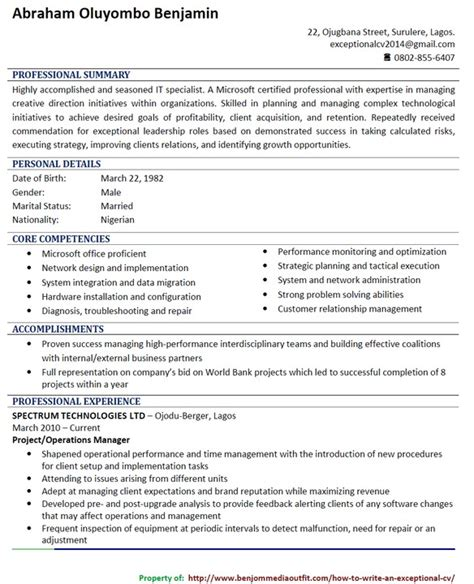 How To Write A Curriculum Vitae by How To Write A Curriculum Vitae In Nigeria Complete