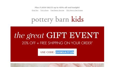pottery barn free shipping code 50 pottery barn code save 20 w promo code