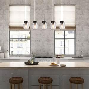 Lnc, 5, Glass, Mason, Jar, Kitchen, Island, Lighting, Multi