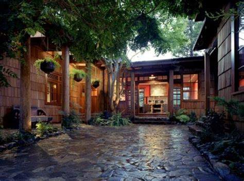architecture courtyard design trees natural nature stone