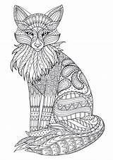 Coloring Adult Adults Fox Colouring Mandala Animal Books Zentangle Printable Detailed Animals Hard Sheets Therapy Tiere Ausmalbilder Grown Zum Mara sketch template