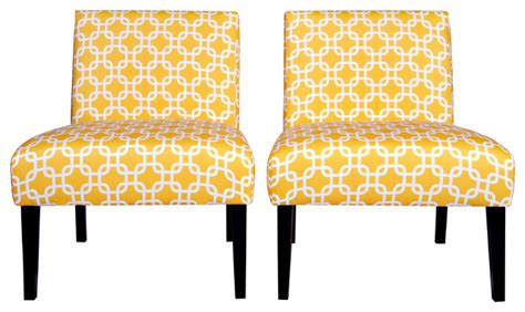 portfolio niles yellow geometric links armless chair